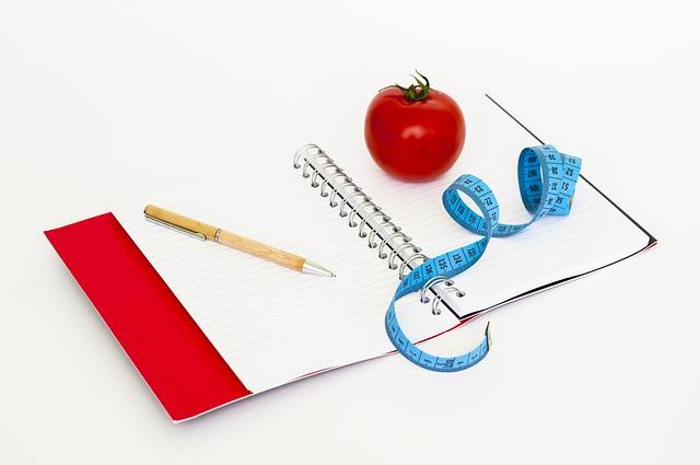zápisník, tužka, rajče, metr